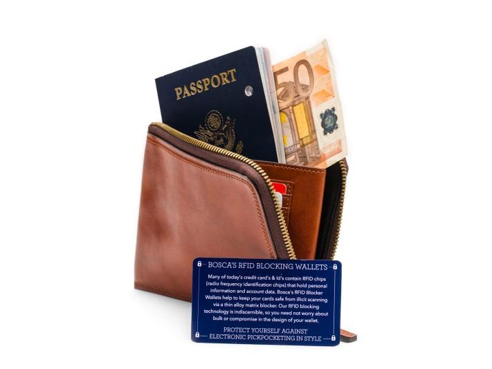 Bosca Dolce 623 Zippered RFID Passport Wallet